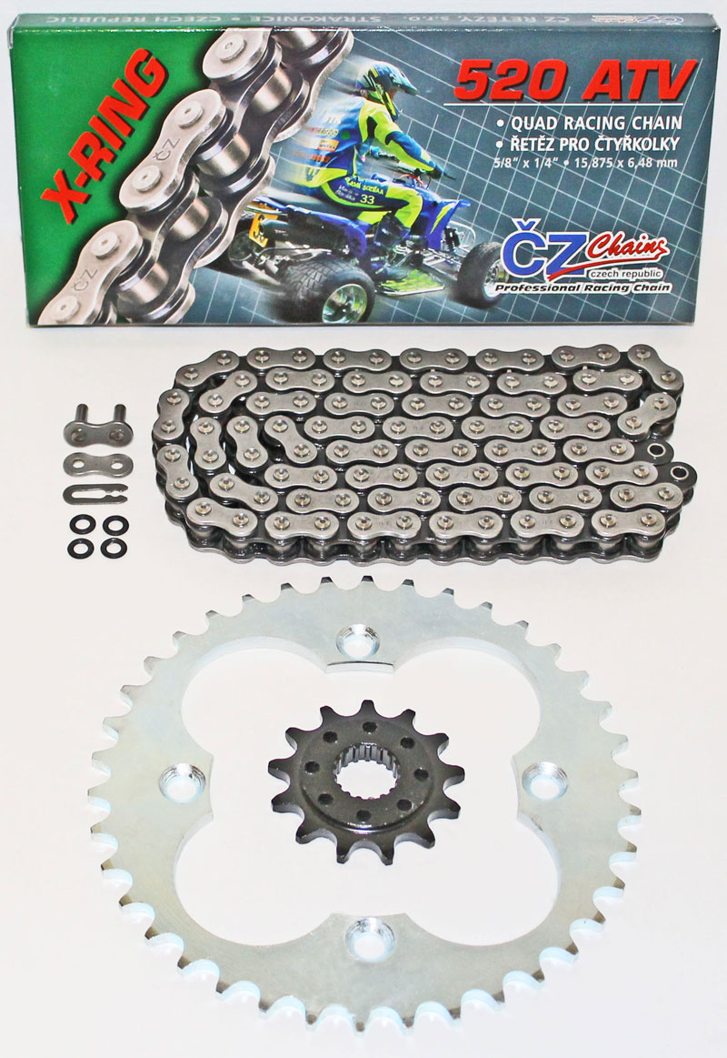 2005-2008 Fits Honda Sportrax 400EX TRX400EX Red O-Ring Chain /& Silver Sprocket 13//36