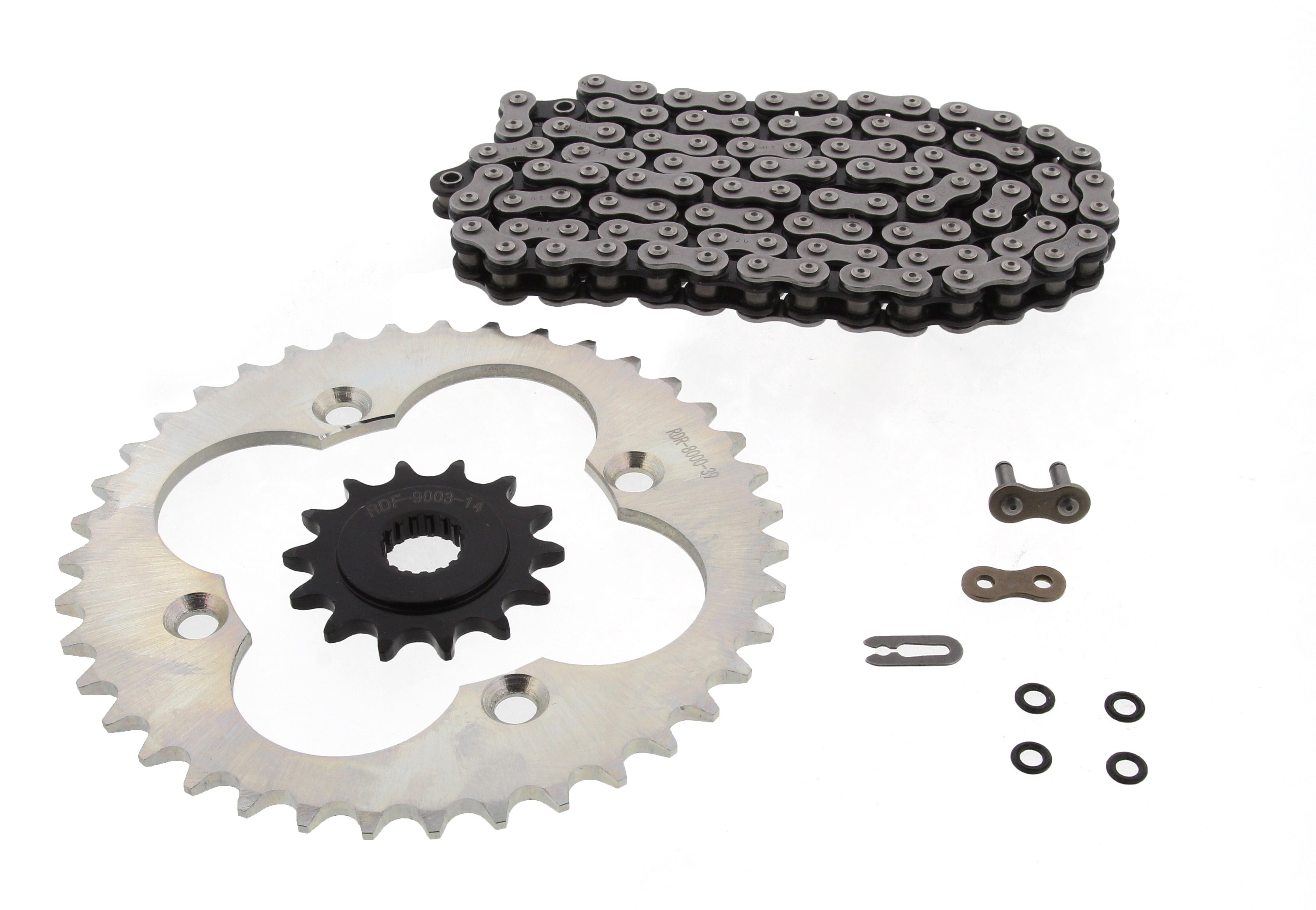1999-2004 Fits Honda Sportrax 400EX TRX400EX O-Ring Chain /& Silver Sprocket 14//39 96L